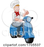 Poster, Art Print Of Chef Moped Scooter Food Delivery Man Cartoon