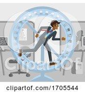 Tired Stressed Business Man Running Hamster Wheel