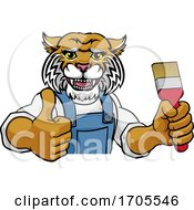 Poster, Art Print Of Wildcat Painter Decorator Holding Paintbrush