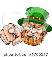 Poster, Art Print Of Leprechaun Pointing Finger At You Mascot Cartoon