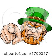 Leprechaun Pointing Finger At You Mascot Cartoon