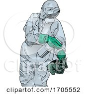 Poster, Art Print Of Emergency Medical Worker In A Protective Suit