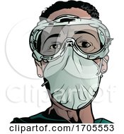 Poster, Art Print Of Emergency Medical Worker In A Protective Suit And Mask