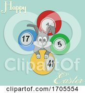 Poster, Art Print Of Hand Drawn Easter Bunny And Bingo Lottery Balls