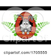 Hand Drawn Easter Bunny Out From Cracked Egg