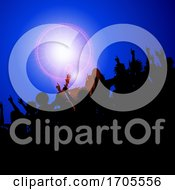 Poster, Art Print Of Silhouette Festival Event Crowd On Blue