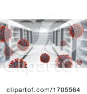 3D Interior Of A Supermarket With Empty Shelves And Covid 19 Virus Cells by KJ Pargeter