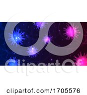 Abstract Banner Design With Virus Cells Depicting Covid 19 Pandemic
