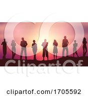 People Silhouettes Social Distancing Against A Sunset Sky by KJ Pargeter