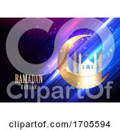 Ramadan Kareem Background With Glowing Lights Crescent And Mosque Silhouette