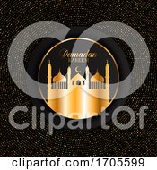 Elegant Ramadan Kareem Background With Gold Dots Design