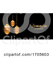 Ramadan Kareem Background With Glowing Hanging Lanterns