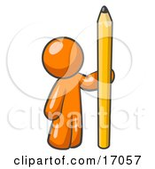 Orange Man Holding Up And Standing Beside A Giant Yellow Number Two Pencil Clipart Illustration