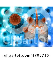 3D Medical Background With Abstract Virus Cells Attacking Lungs