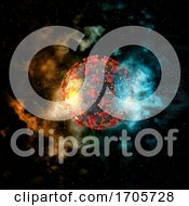 3D Space Background With Corona Virus Cell