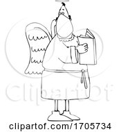 Cartoon Black And White Male Angel Wearing A Mask