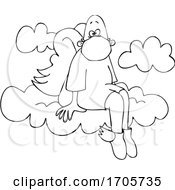 Cartoon Black And White Male Angel Sitting On A Cloud And Wearing A Mask