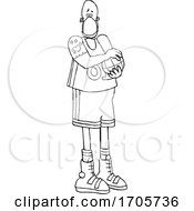 Poster, Art Print Of Cartoon Black And White Basketball Player Wearing A Mask