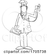 Cartoon Black And White Male Doctor Wearing A Mask And Listening Through A Stethoscope