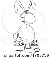 Cartoon Black And White Easter Bunny Wearing A Covid19 Mask