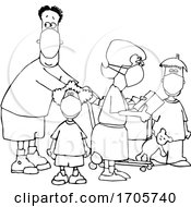 Cartoon Black And White Family Wearing Masks And Shopping During The Covid19 Pandemic