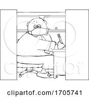 Cartoon Black And White Businessman Wearing A Covid19 Mask And Working In A Cubicle by djart