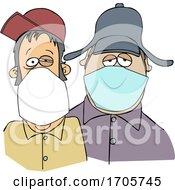 Cartoon Men Wearing Face Masks