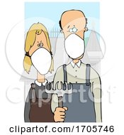 Poster, Art Print Of Cartoon American Gothic Parody Of A Farmer Couple Wearing Masks