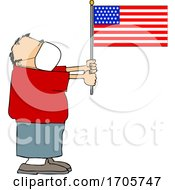 Cartoon Man Wearing A Face Mask And Holding An American Flag by djart