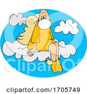 Cartoon Male Angel Sitting On A Cloud And Wearing A Mask by djart