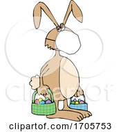 Cartoon Easter Bunny Wearing A Covid19 Mask