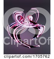 3d Swirling Pink Abstract Plastic Geometric Shape Floating In Space