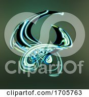 Swirling 3d Abstract Mathematical Plastic Shape With A Green Glow