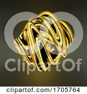 Swirling 3d Abstract Mathematical Plastic Shape With A Golden Glow