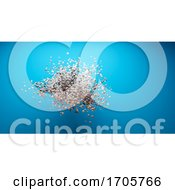3d Abstract Cloud Of Particle Spheres Floating In Front Of Blue Wall In Gallery