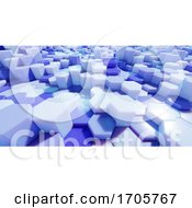 3d Abstract Blue Plastic Hexagon Block Environment by Steve Young