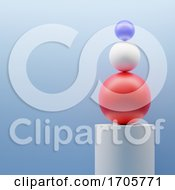 3d Abstract Red White And Blue Spheres Balance Against Blue Background On Plinth by Steve Young