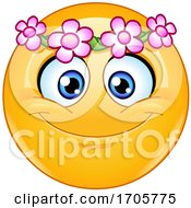 Poster, Art Print Of Yellow Emoji Cartoon Smiley Face With A Flower Wreath