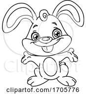 Poster, Art Print Of Cute Black And White Happy Bunny Rabbit