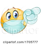 Yellow Emoji Cartoon Smiley Face Doctor Wearing A Surgical Mask And Pointing
