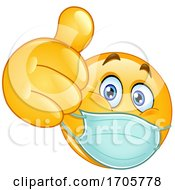 Yellow Emoji Cartoon Smiley Face Doctor Wearing A Surgical Mask And Giving A Thumb Up