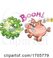 Cartoon Coronavirus Menacing A Money Pig