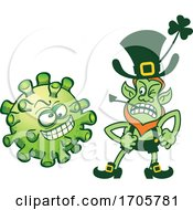 04/01/2020 - Cartoon Coronavirus And Angry Leprechaun