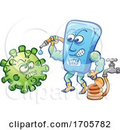 04/01/2020 - Cartoon Bar Of Super Soap Spraying Down Coronavirus