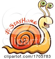 Cartoon Coronavirus Snail With A Stay Home Message by Zooco
