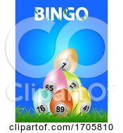 Poster, Art Print Of Easter Bingo Eggs On Blue Background And Decorative Text
