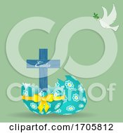 Easter Cross Decorated Egg And Dove Background
