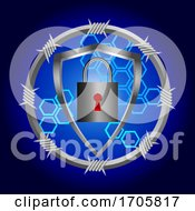 Cyber Security Blue Background With Shield And Padlock