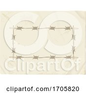 Vintage Copy Space Paper With Barbwire Frame