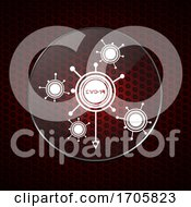 Contained Covid19 Molecules Over Honeycomb Red Background